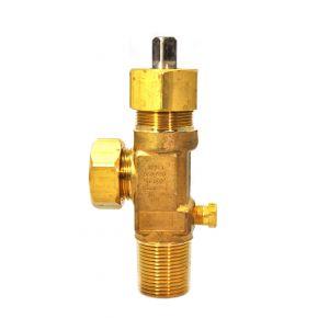 """Chlorine Cylinder Valve, CGA 820 Outlet, 3/4""""-14 CL-2, Cylinder Valve, 158 Fuse Plug, Garlock Packing"""