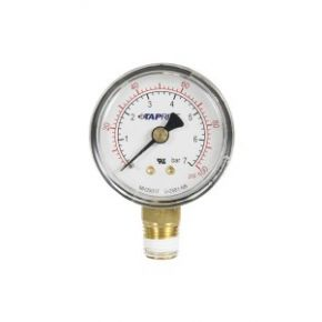 "Taprite, Pressure Gauge, 0-100 PSI, 1/4"" NPT Bottom Inlet, Right Hand Threads"